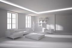 Белая внутренняя концепция для живущей комнаты Стоковые Фото
