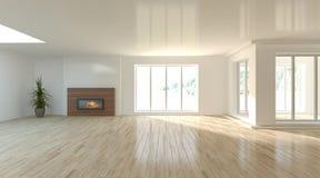 Белая внутренняя концепция для живущей комнаты Стоковые Изображения