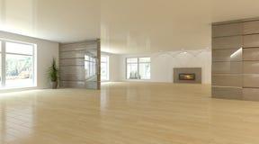 Белая внутренняя концепция для живущей комнаты Стоковое Изображение