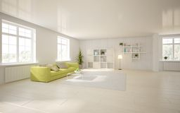 Белая внутренняя концепция для живущей комнаты Стоковое Фото