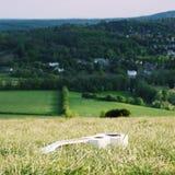 Белая гавайская гитара на холме коробки Стоковые Фотографии RF