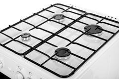 Белая газовая плита изолированная на белой предпосылке Стоковые Фото