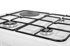 Белая газовая плита на белой предпосылке Стоковые Фотографии RF