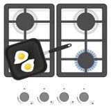 Белая газовая плита с сковородой и яичницами Иллюстрация вектора взгляд сверху Стоковое Фото