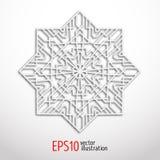белая геометрическая снежинка 3d Дизайн арабескы Арабский, исламский, турецкий орнамент Стоковая Фотография