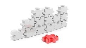 Белая головоломка соединяет формировать стену с одной красной частью вниз бесплатная иллюстрация
