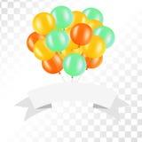 Белая лента с воздушными шарами на прозрачной предпосылке также вектор иллюстрации притяжки corel бесплатная иллюстрация