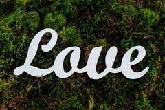 Белая деревянная влюбленность слова Стоковая Фотография RF