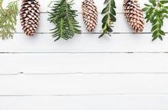 Белая деревянная предпосылка с снегом покрыла pinecones Стоковая Фотография RF
