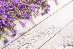 Белая деревянная предпосылка с цветками Стоковое Изображение