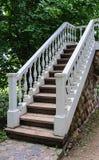Белая лестница с banister стоковые изображения