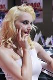 Белая женская модель имитирует Мерилин Монро Стоковое Изображение