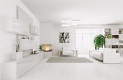Белая живущая комната внутреннее 3d Стоковые Фотографии RF