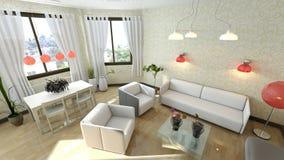 Белая живущая комната Стоковая Фотография RF