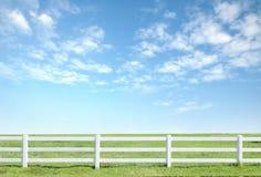 Белая загородка на зеленой траве Стоковое фото RF