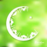 Белая зеленая луна Origami серповидная с мечетью Поздравительная открытка Рамазана Kareem Стоковая Фотография