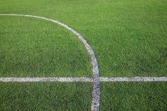 Белая линия нашивки на поле зеленой травы Стоковое Изображение RF