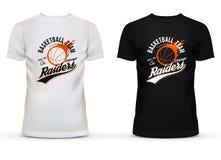 Белая и черная футболка с шариком баскетбола и след огня для рейдовиков Чикаго объединяются в команду Ограниченный вариант sports иллюстрация вектора