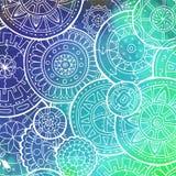 Белая картина с формой круга Абстрактные мандалы Doodle Дизайн шаблона круга с выплеском акварели Стоковые Фотографии RF
