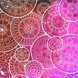 Белая картина с формой круга Абстрактные мандалы Doodle также вектор иллюстрации притяжки corel Дизайн шаблона круга с выплеском  Стоковые Фотографии RF