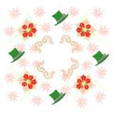 Белая картина с Poinsettia и снежинками Стоковое Изображение RF