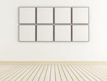 Белая комната с пустыми рамками иллюстрация штока