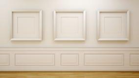 Белая комната с пустыми рамками Стоковые Фото