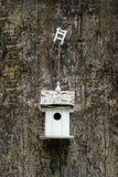 Белая коробка вложенности на старом дереве Стоковые Фото