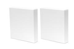2 белая коробка или коробка пакета белой бумаги изолированная на белом backg Стоковая Фотография RF