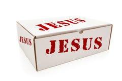 Белая коробка с Иисусом на изолированных сторонах стоковая фотография