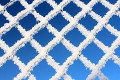 Белая, который замерли решетка на голубом небе стоковая фотография
