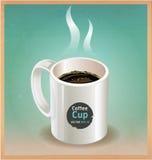 Белая кофейная чашка на старой предпосылке коричневой бумаги. Стоковое Изображение