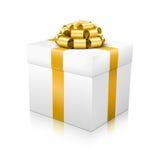Белая красивая связыванная подарочная коробка вектора с золотое элегантным Стоковые Изображения RF