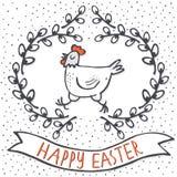 Белая курица в карточке пасхи праздника весны венка вербы с желаниями Стоковая Фотография RF