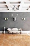 Белая классическая софа стиля в винтажной комнате Стоковые Фотографии RF