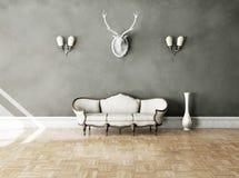 Белая классическая софа стиля в винтажной комнате Стоковое фото RF