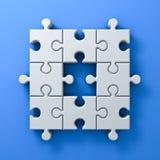 Белая мозаика соединяет одну отсутствующую концепцию на голубой предпосылке стены с тенью 3D представляет Стоковые Фото