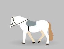 Белая лошадь на серой предпосылке также вектор иллюстрации притяжки corel Стоковое Фото