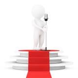 белая персона певицы 3d с винтажным микрофоном над стручком победителя Стоковые Изображения
