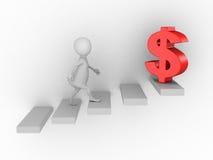 Белая персона 3d взбираясь вверх на лестнице к символу доллара Стоковая Фотография RF