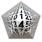Белая пирамида с числами от нул до 9 Стоковая Фотография
