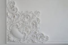 Белая прессформа стены с геометрической формой и исчезая пунктом горизонтально Стоковые Фото