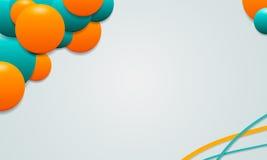 Белая предпосылка красочных кругов и кривых Стоковая Фотография RF
