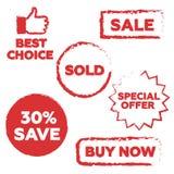 Белая предпосылка с изолированным штемпелем продажи Стоковая Фотография RF