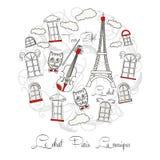 Белая предпосылка с музыкой и путешествием Eiffel иллюстрация вектора