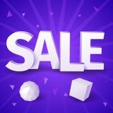 Белая продажа текста с сферой и коробкой на голубой предпосылке Стоковое Изображение
