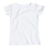 Белая пустая женская футболка на белизне Стоковое Фото