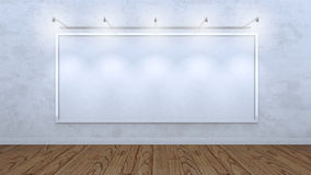 Белая пустая рамка на бетонной стене стоковая фотография rf