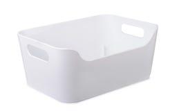 Белая пластичная тара для хранения стоковое фото