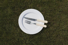 Белая плита на траве Стоковая Фотография RF
